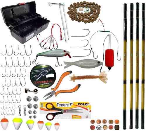 Kit Acessorios De Pesca Completo 4 Telescopica De 3m e Itens