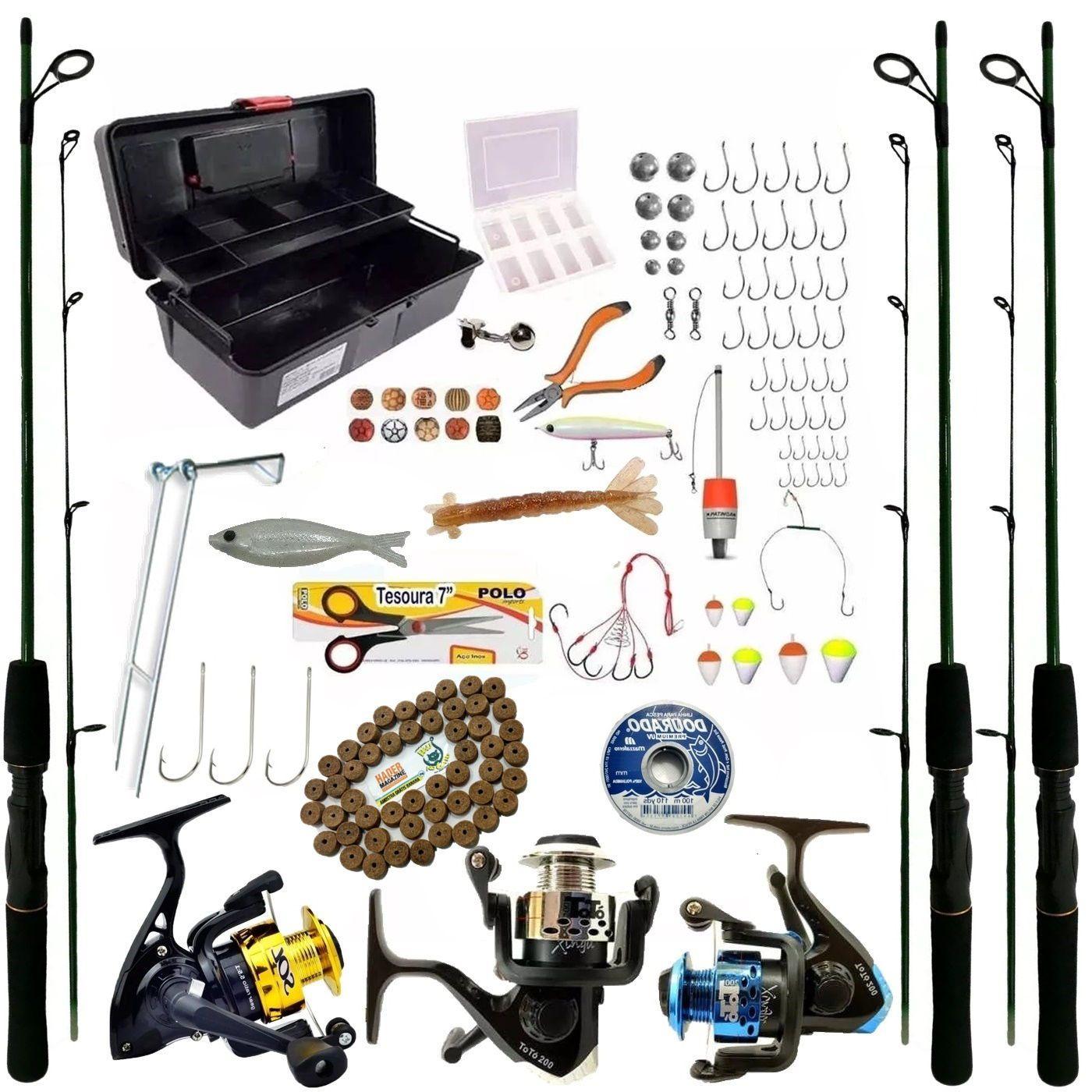 3 Molinete Kit De Pesca 3 Vara Completo Oferta Com Itens