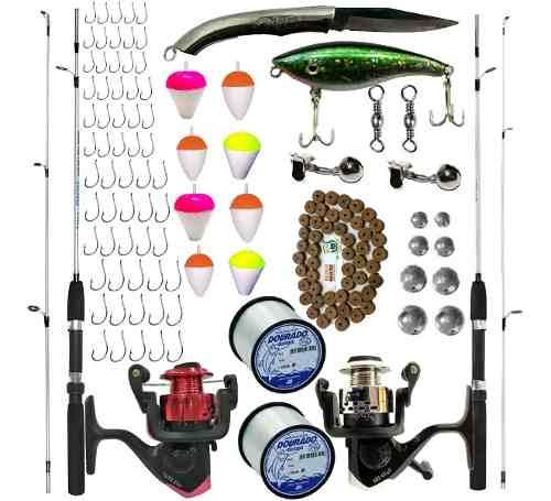 Kit Pesca 2 Varas 2 Molinetes E Acessórios Suporta 6 Kilos