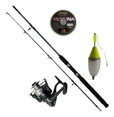 Vara De Pesca Completa 1,70 25-50lb Molinete Linha Boia