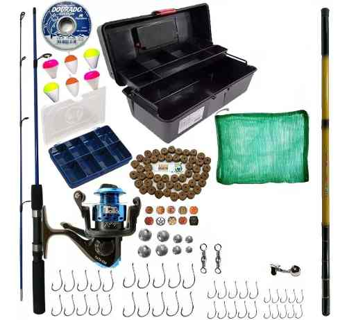 Kit De Pesca Completo 1 Vara 1 Molinete 1 Telescopica Itens