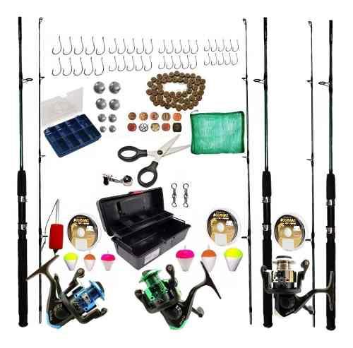 Kit Pesca Completo 3 Vara 1,80 3 Molinete Caixa Com Itens