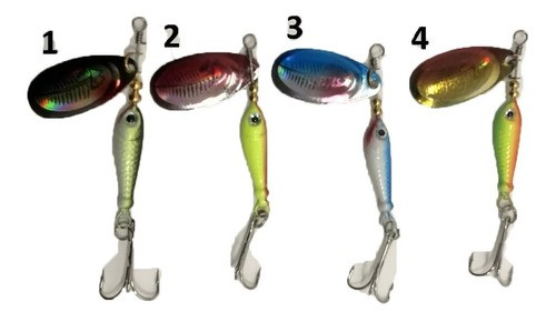 4 Isca Jig Artificial Laser Spinner Special 9g Colher Peixe