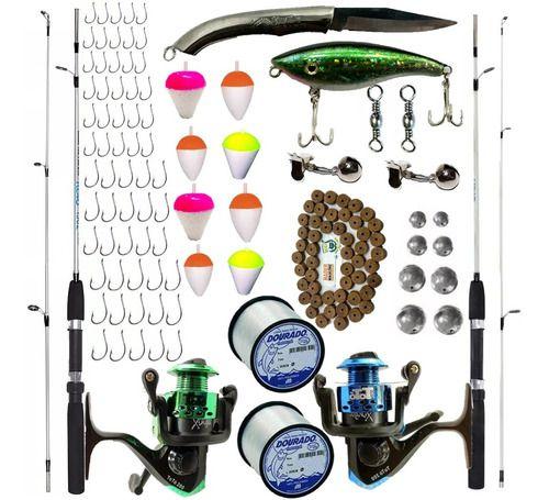 Kit Pesca 6 Varas 6 Molinetes E Acessórios Suporta 6 Kilos