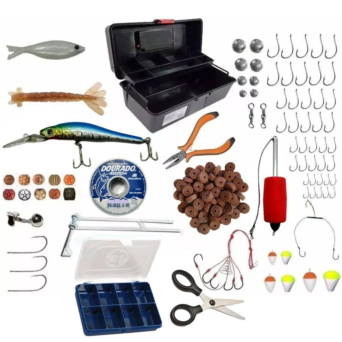 Caixa De Pesca Completa Isca E Acessórios Básicos Barato