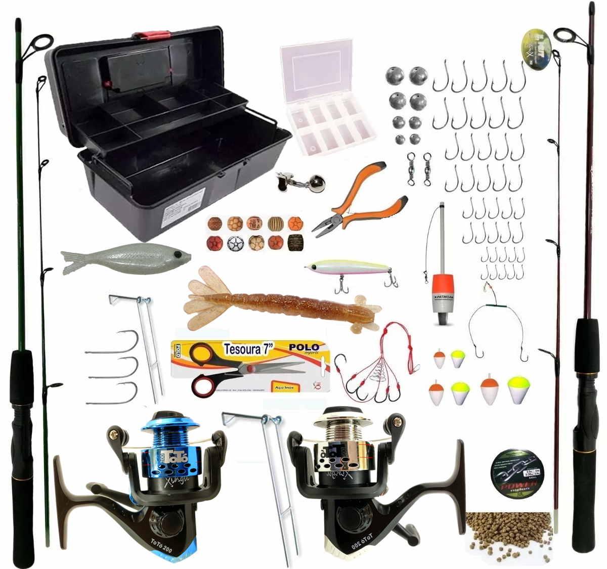 Conjunto De Pesca Completo 2 Vara 2 Molinete 6 Kg Oferta