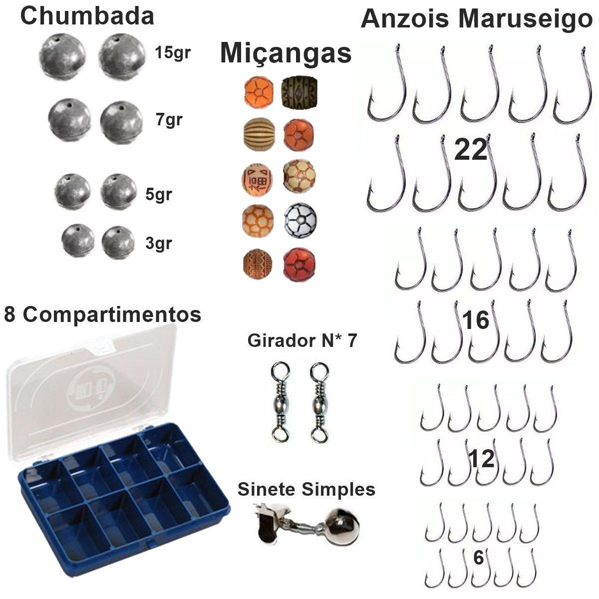 Kit Acessorios De Pesca Completo 4 Telescopica 3,60m e Itens