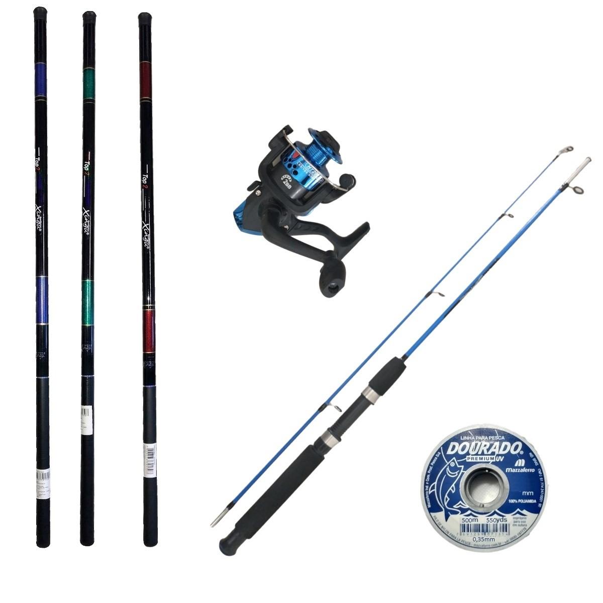 Kit De Pesca 1 Vara 1 Molinete 3 Telescopica 3,00m E Linha