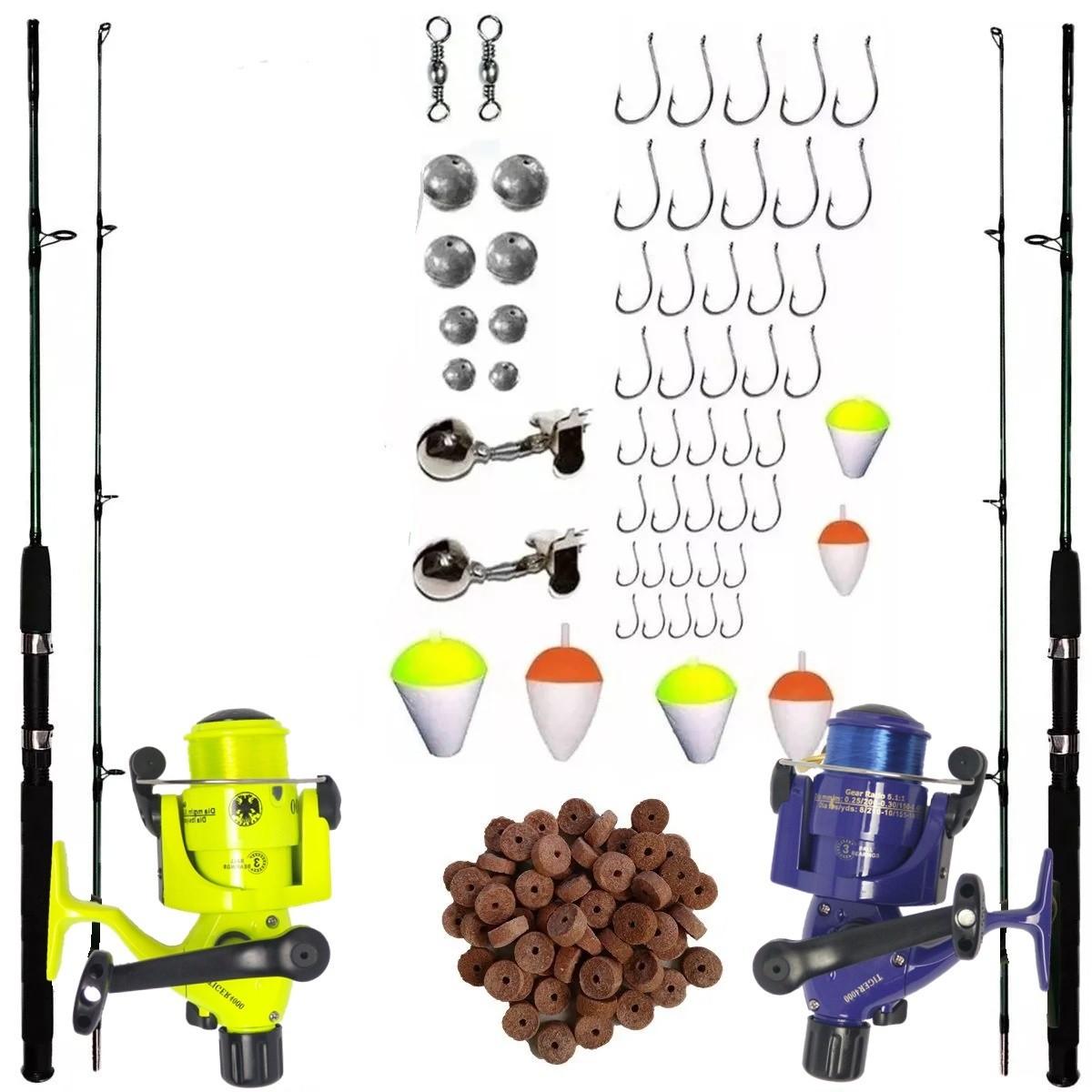 Kit De Pesca 2 Varas 1,70m 2 Molinetes 3 rolamentos e Itens