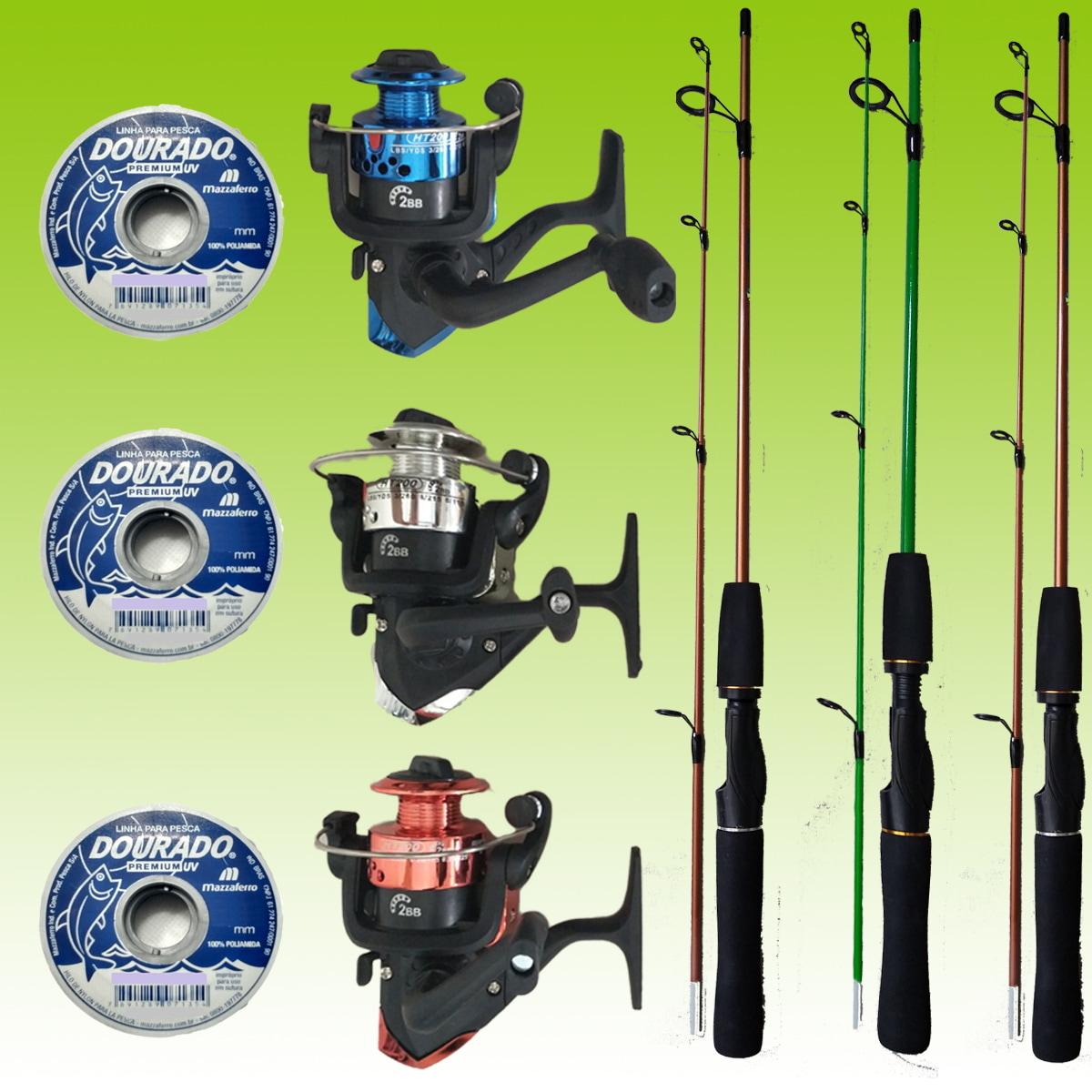 Kit De Pesca 3 Varas 1,20m 3 Molinetes C/ Linha Barato