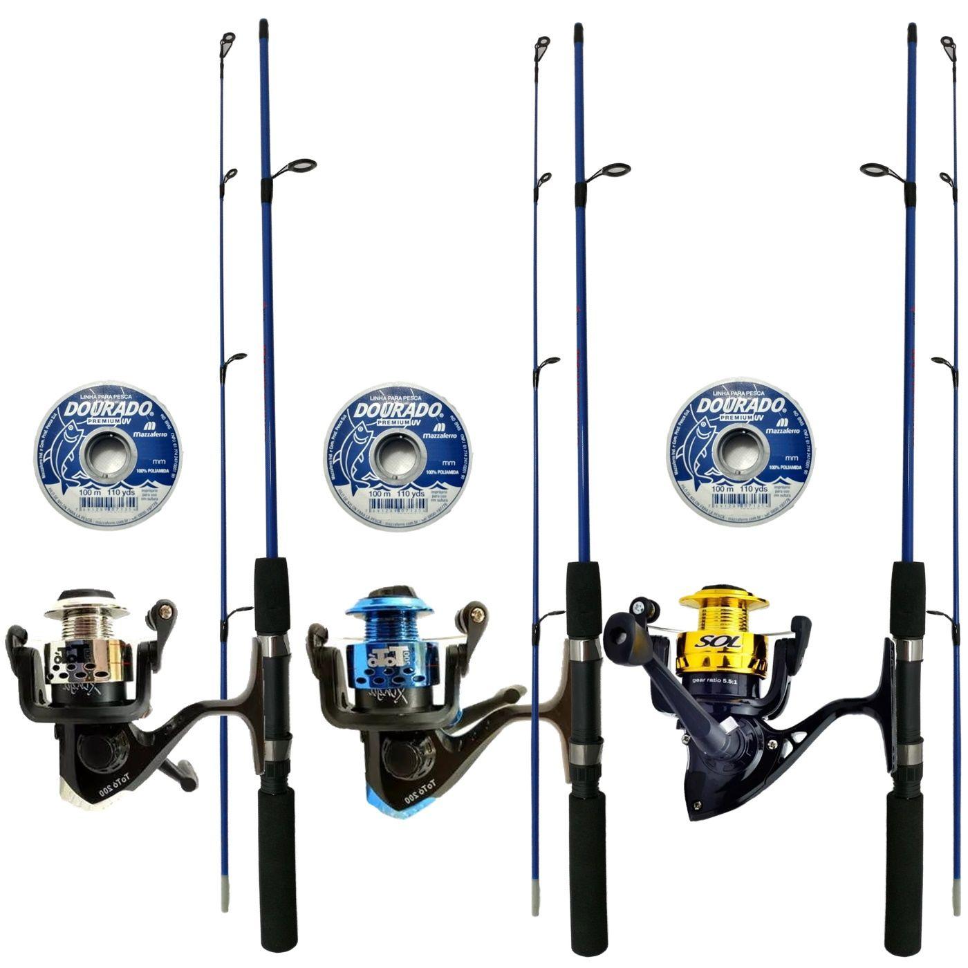 Kit De Pesca 3 Varas 1,35m 3 Molinetes e Linha Barato