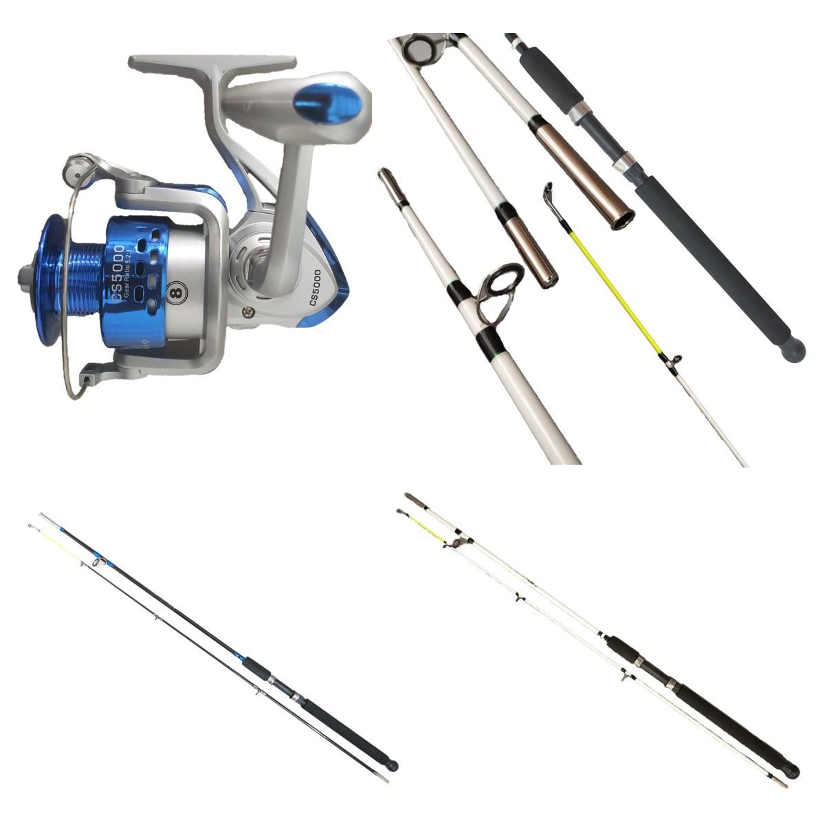 Kit De Pesca Completo 30kg 2 Vara 240 2 Molinete 8 rol E Itens