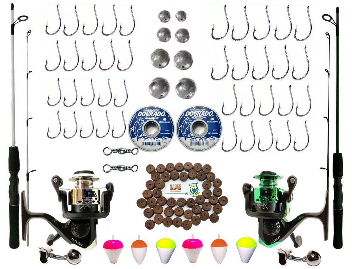 Kit De Pesca Completo 1 Vara 1,35 1 De 1,70 Com 2 Molinetes