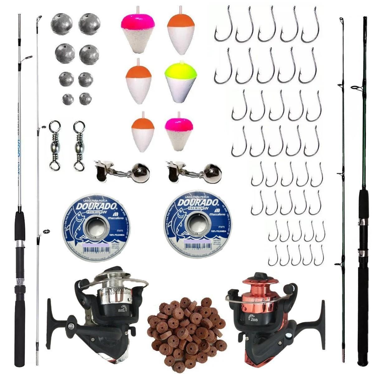 Kit De Pesca Completo 1 Vara 1,50 1 De 1,70 Com 2 Molinetes