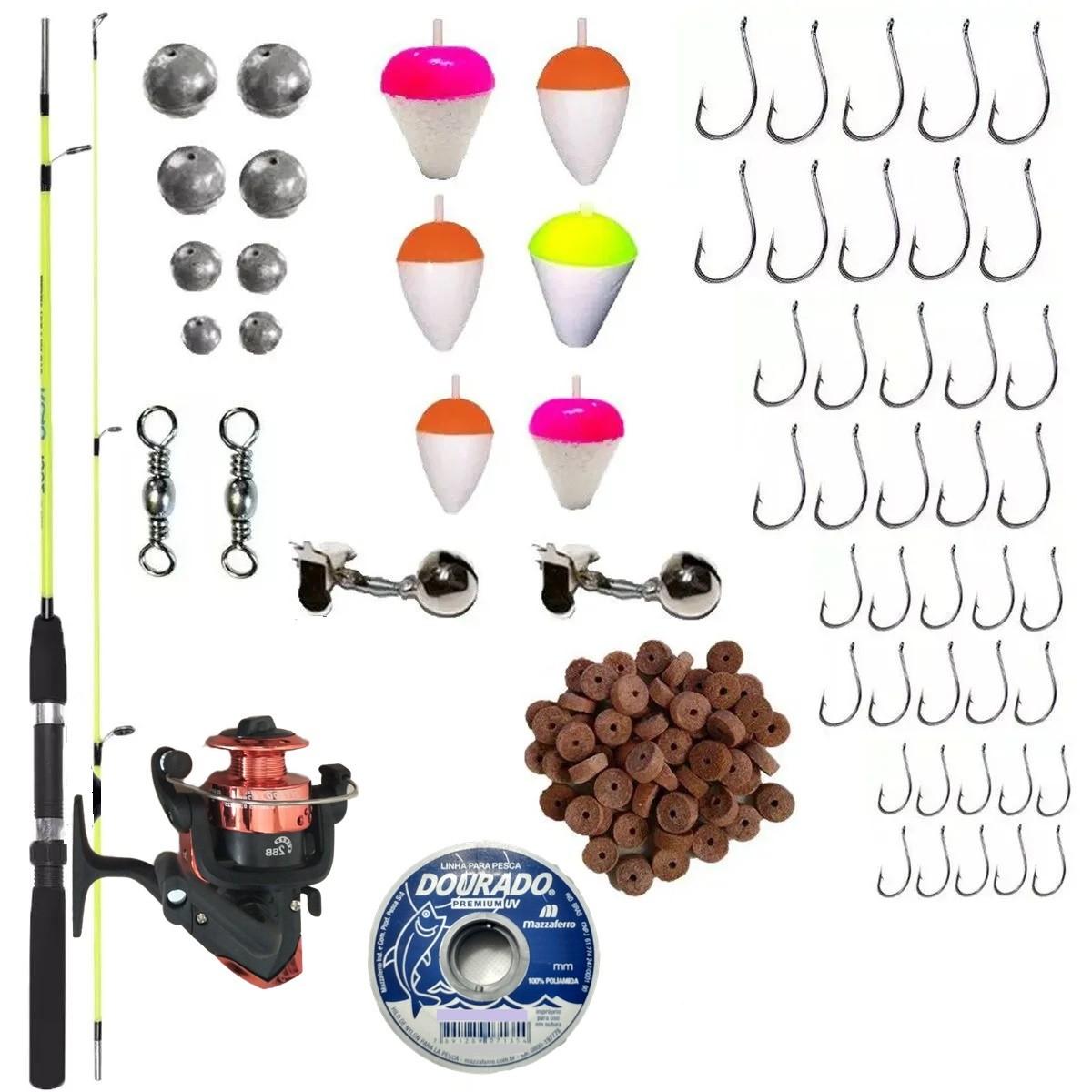Kit De Pesca Completo 1 Vara 1,50m 1 Molinete  E Itens