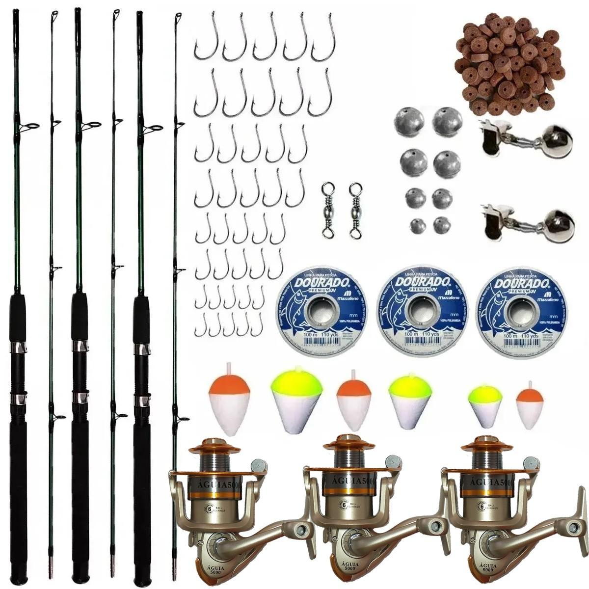 Kit De Pesca Completo 20kg 3 Vara 1,70 3 Molinete + Itens