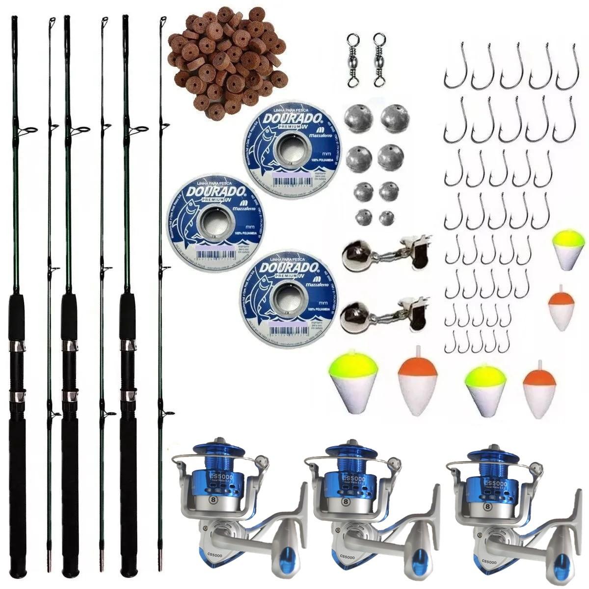 Kit De Pesca Completo 20kg 3 Vara 1,70m 3 Molinete 5000 Item