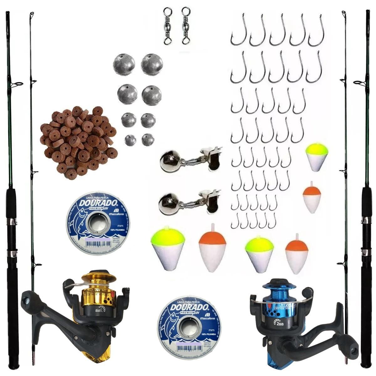 Kit De Pesca Completo 2 Vara 1,70 10kg 2 Molinete E Itens