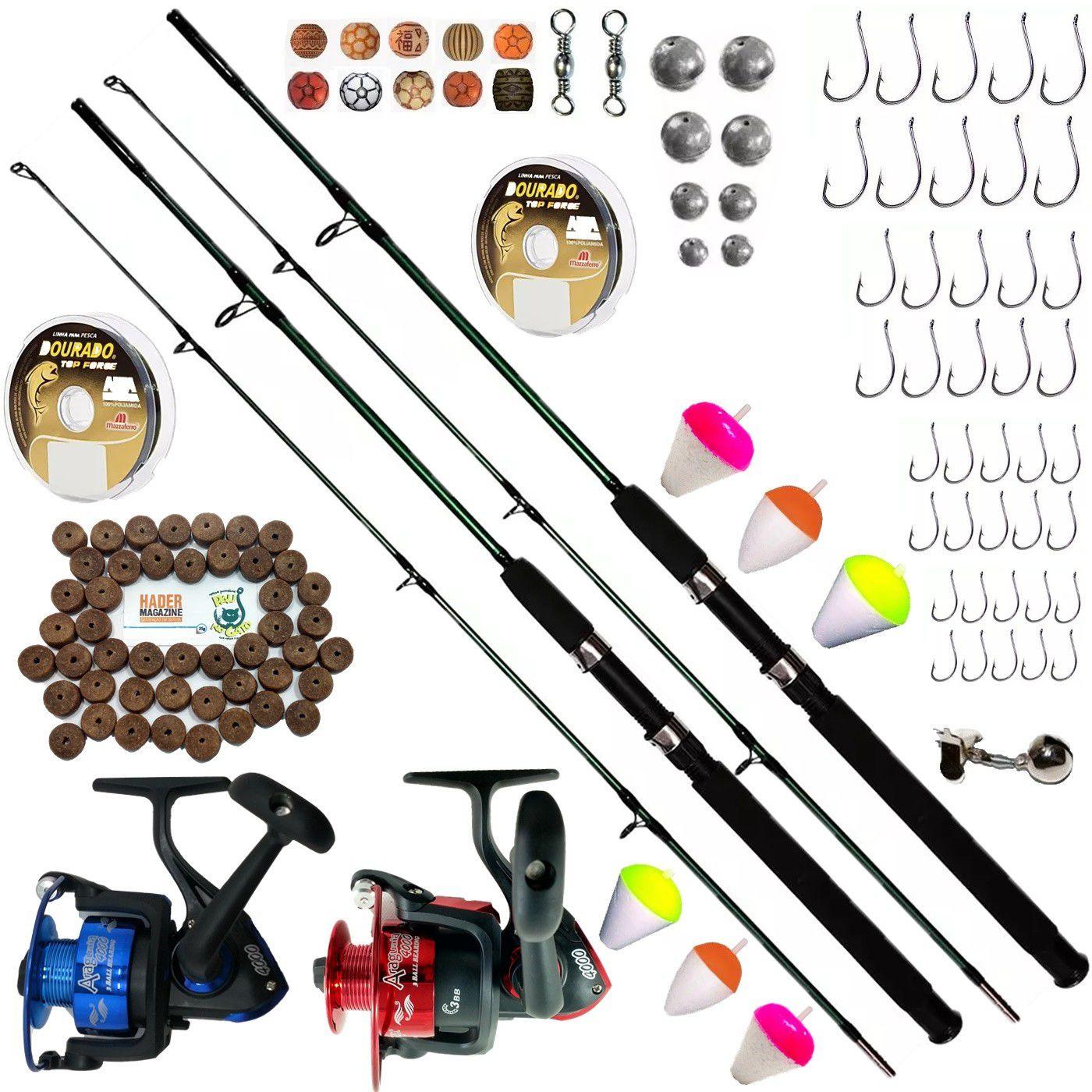 Kit De Pesca Completo 2 Vara 1,70 25-50lb 2 Molinetes 3000 Itens