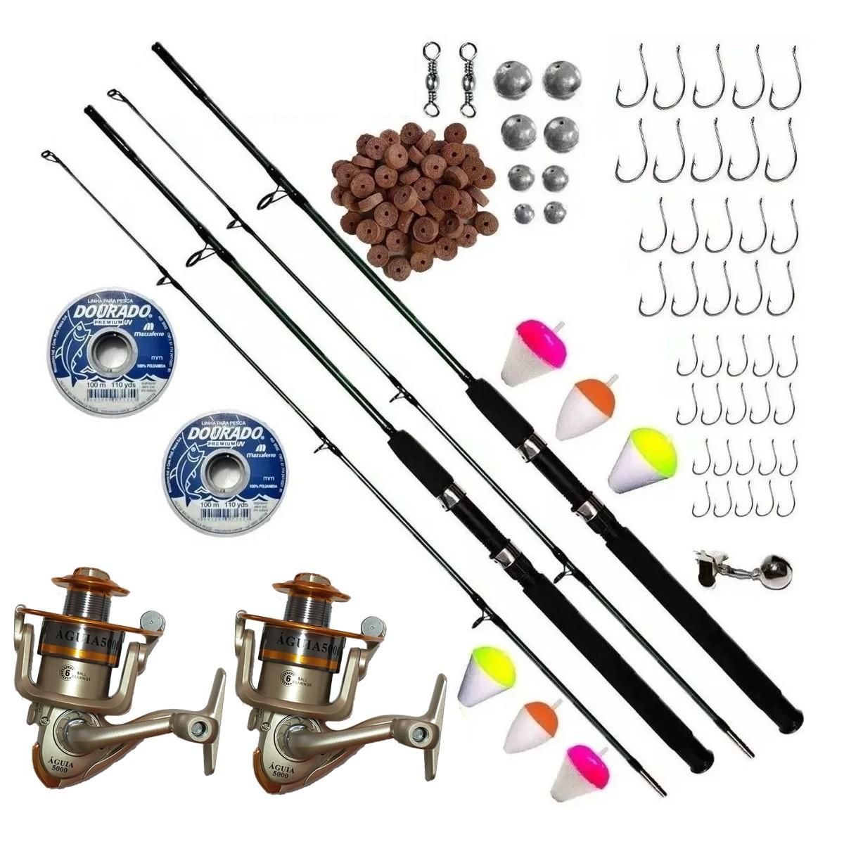 Kit De Pesca Completo 2 Vara 1,70 25-50lb 2 Molinetes 4000 Itens
