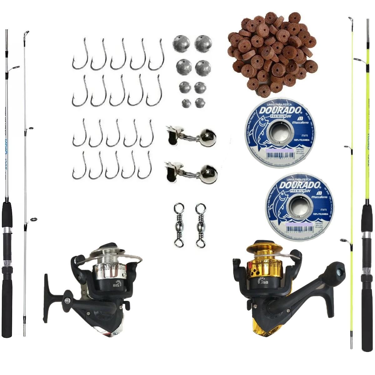 Kit De Pesca Completo 2 Varas 2 Molinetes Acessórios Barato
