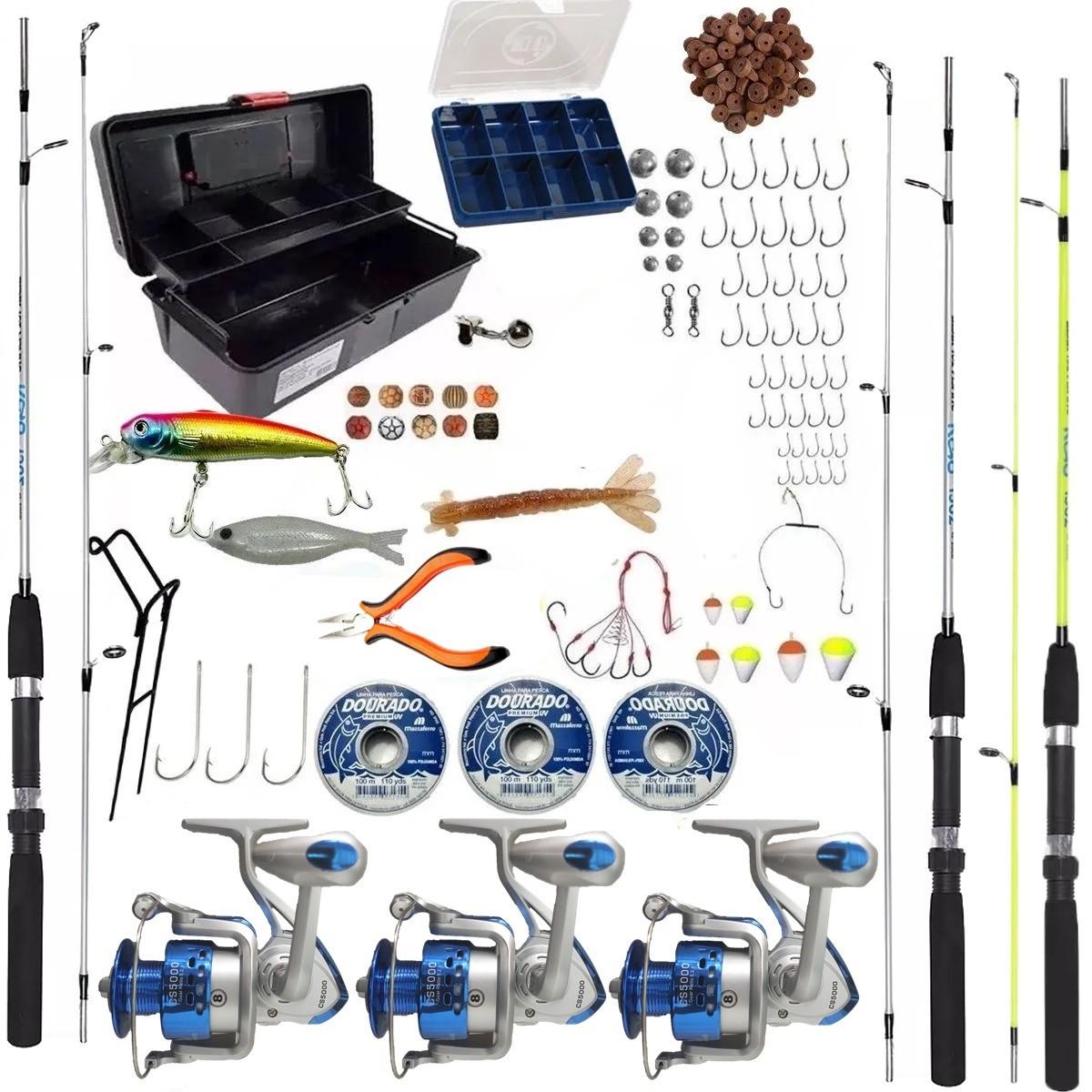 Kit De Pesca Completo 3 Vara 150 3 Molinete CS 5000 e Itens