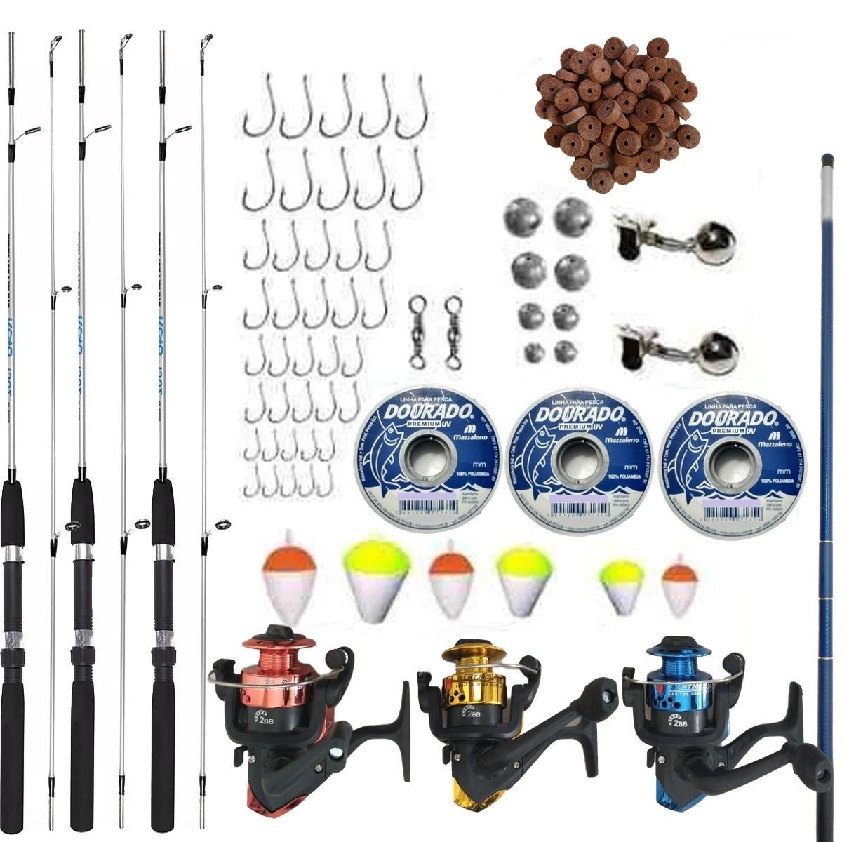 Kit De Pesca Completo 3 Vara 3 Molinete Telescopica + Itens