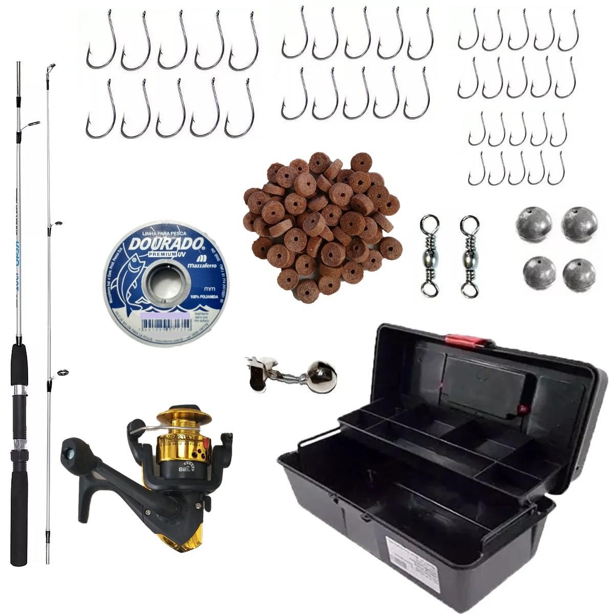Kit de Pesca Completo Barato Caixa Vara Molinete E Acessórios