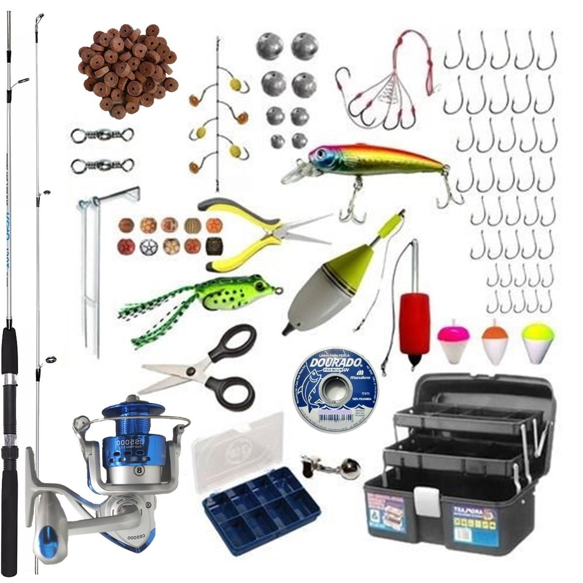 Kit De Pesca Completo Barato Vara Molinete Pronto Para Usar