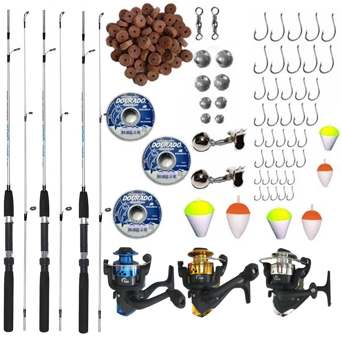 Kit De Pesca Completo Suporta 8kg 3 Vara 1,50 3 Molinetes + Itens
