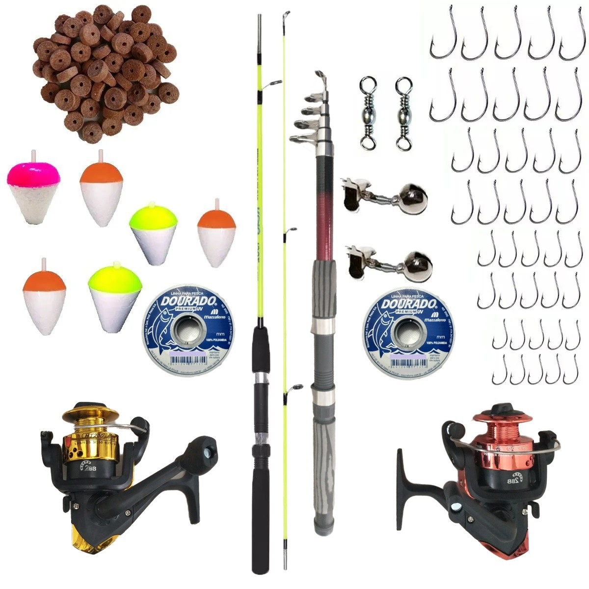 Kit De Pesca Completo Vara 1,20m E 2,10m 2 Molinete E Itens