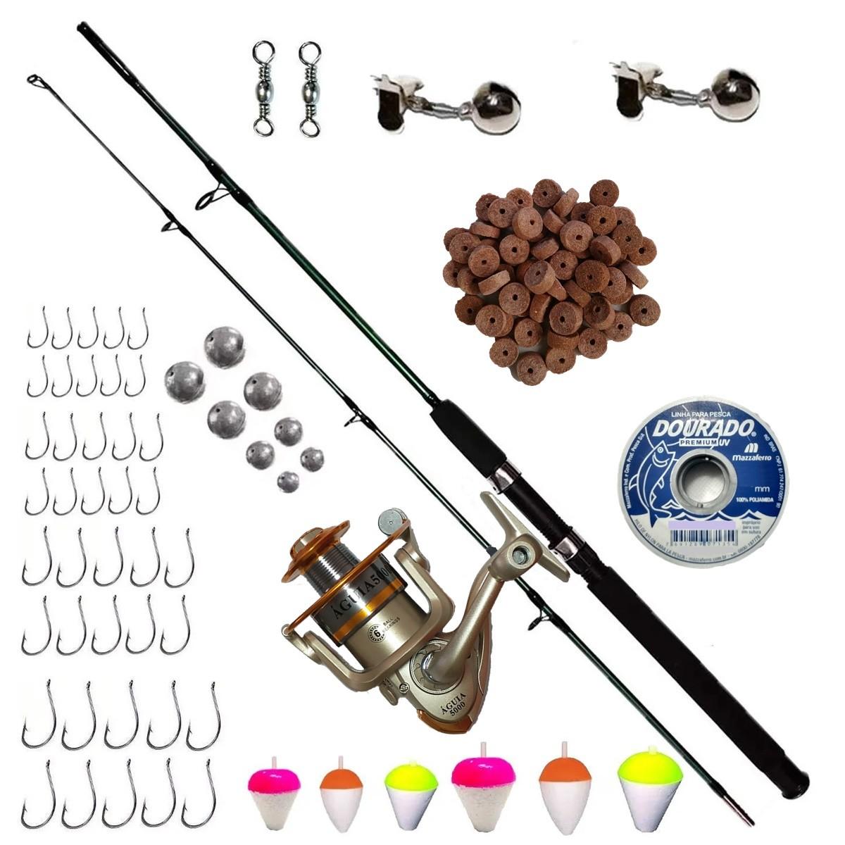 Kit De Pesca Completo Vara 1,70 25-50lb Molinete 3 rol E Acessórios