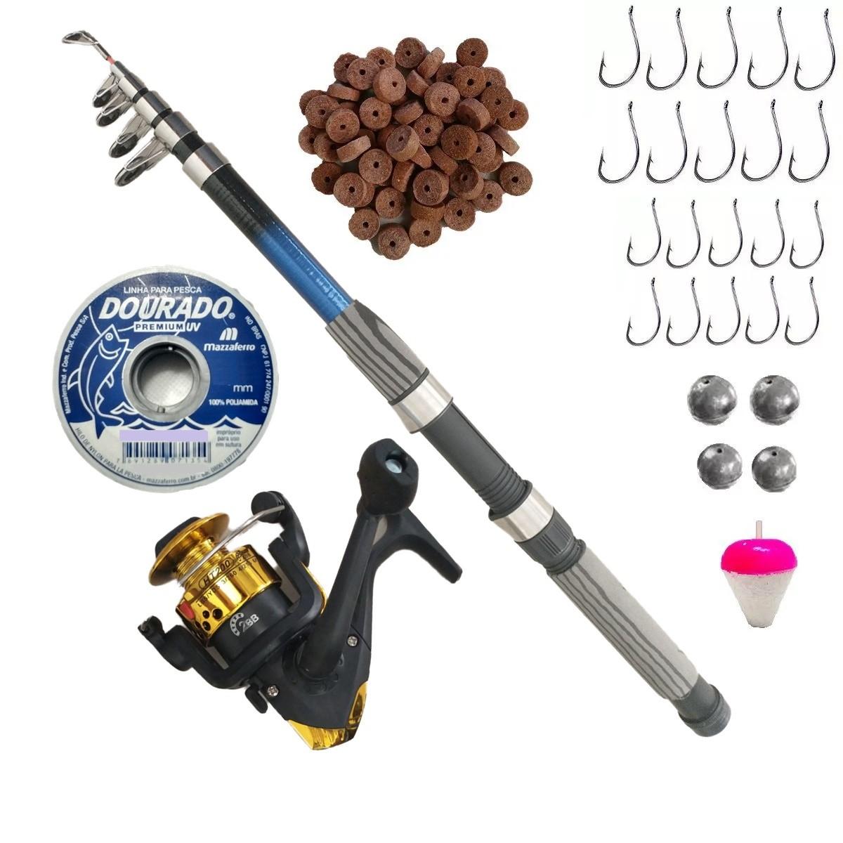 Kit De Pesca Completo Vara 1,50 Molinete Linha Isca Pronto