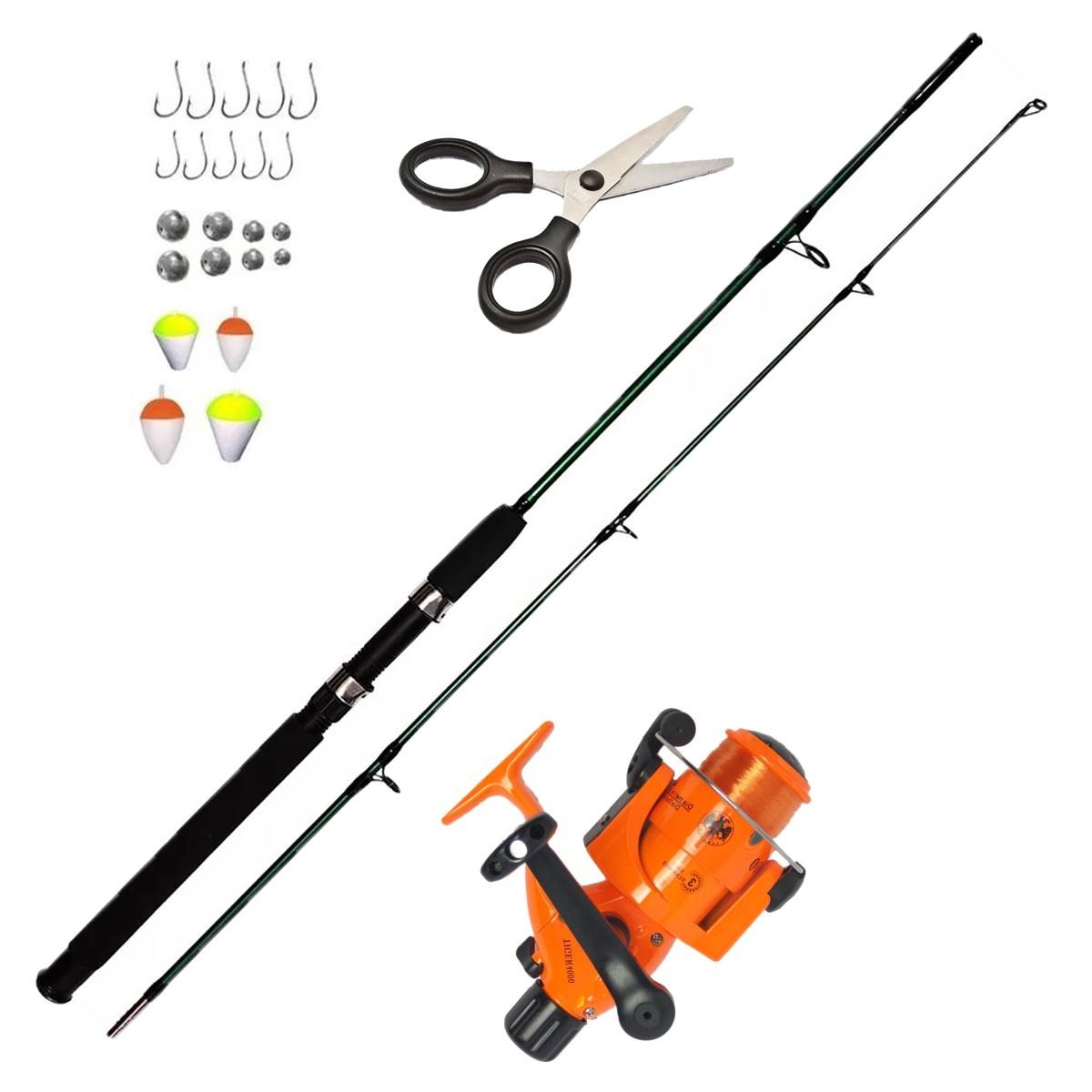 Kit De Pesca Peixes Até 15kg Vara 1,70m Molinete Acessorios