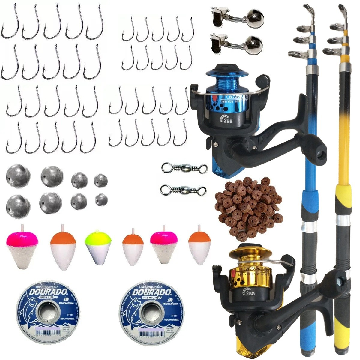 Kit De Pesca Pescaria Completa 2 Vara 2 Molinete E Itens