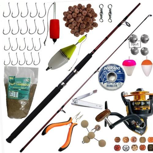 Kit De Pesca Pesqueiro Vara 2,40 30kg Molinete 3 Rol E Itens