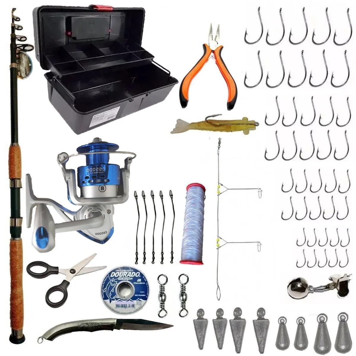 Kit De Pesca Praia Vara 3m Molinete 5000 E Acessórios Basicos
