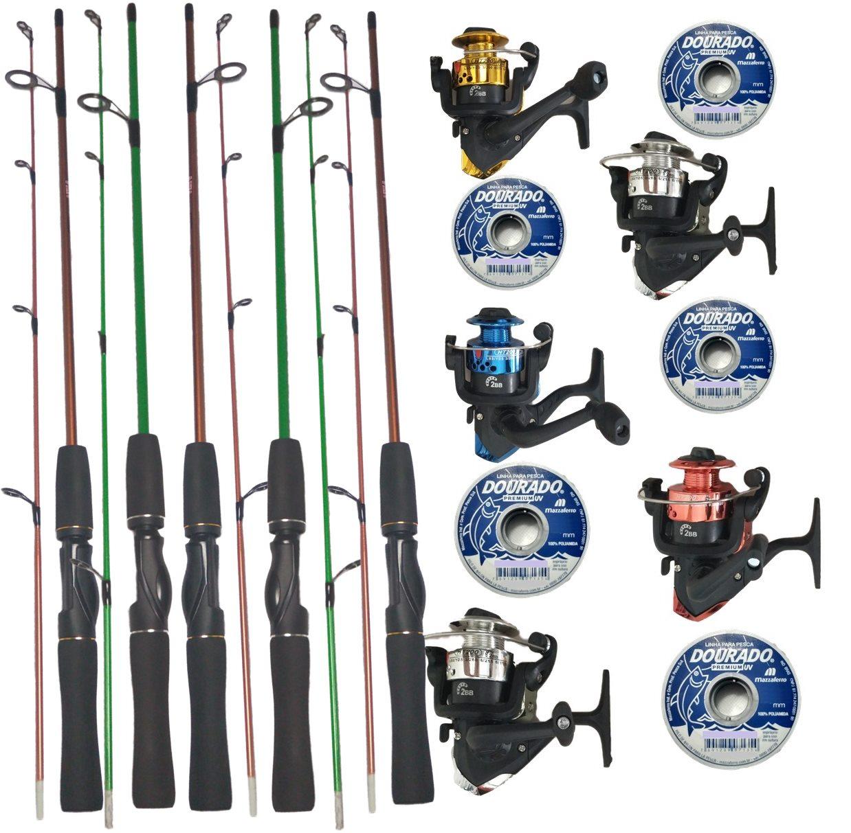 Kit Pesca 5 Molinetes C/ Linha E 5 Varas 1,20m Oferta