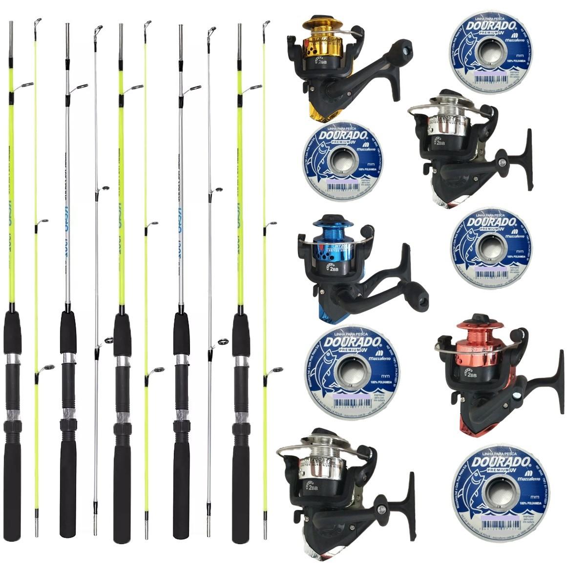 Kit Pesca 5 Molinetes C/ Linha E 5 Varas 1,35m Oferta Barato