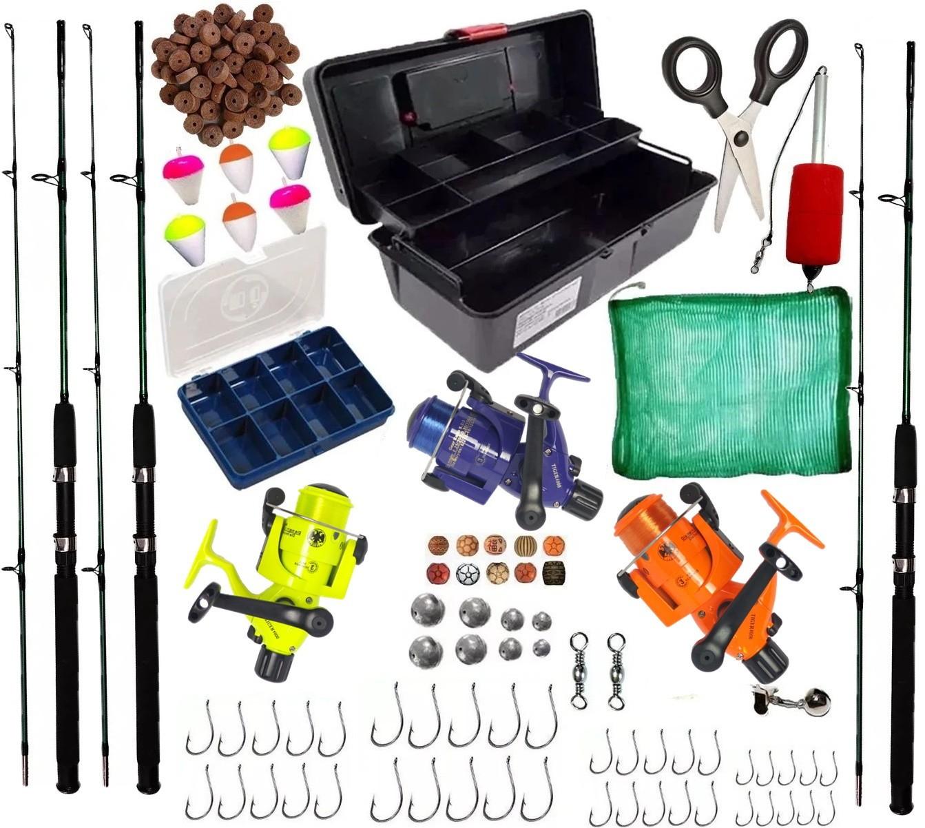 Kit Pesca Completo 3 Vara 1,70 3 Molinetes 3 Rol Caixa e Itens