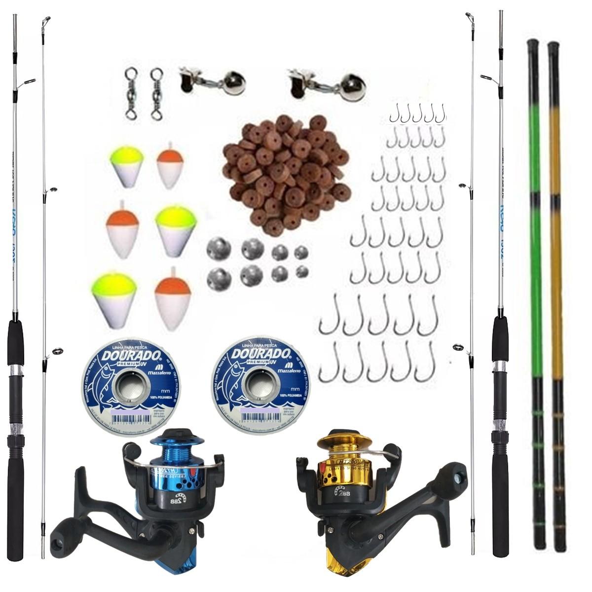 Kit Pesca Completo 6kg 2 Vara 2 Molinete 2 Telescopica +item