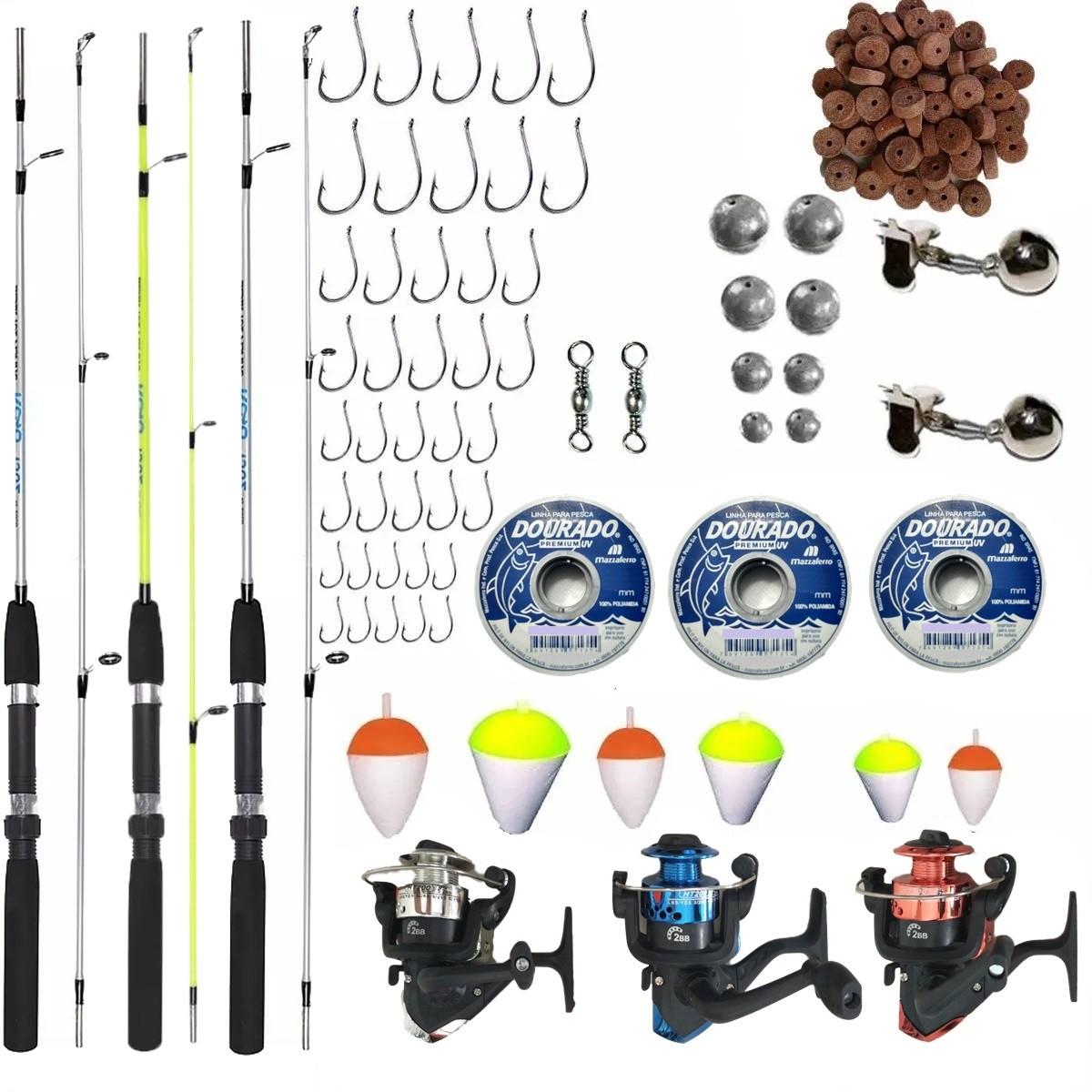 Kit Pesca Completo  6kg 3 Vara 1,35m 3 Molinete e Acessorios