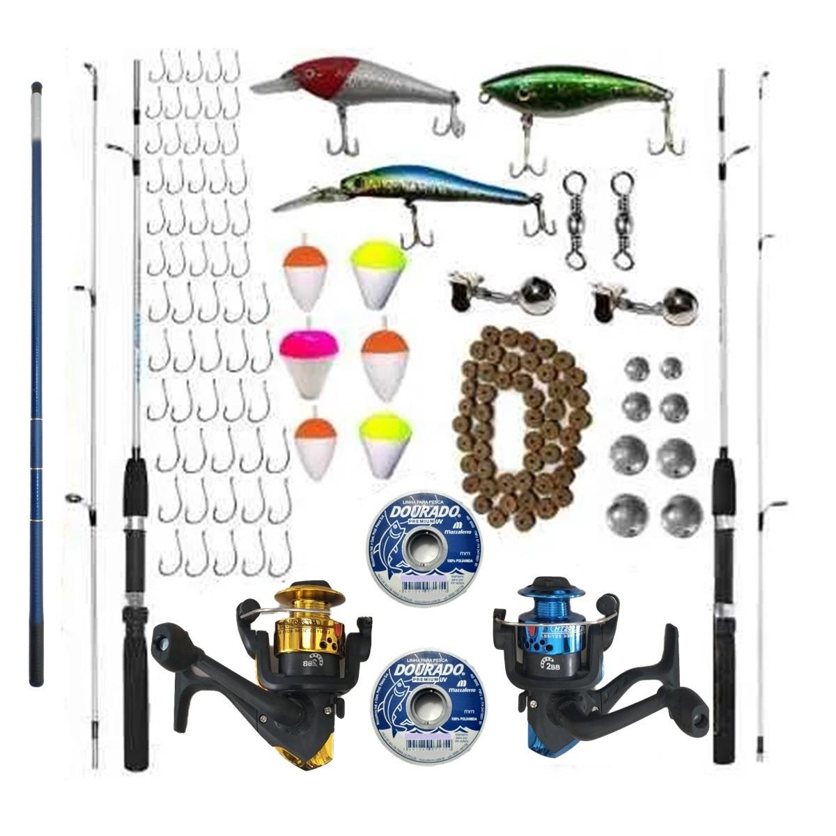 Kit Pesca Completo Vara Molinete Telescopica Pronto Para Uso