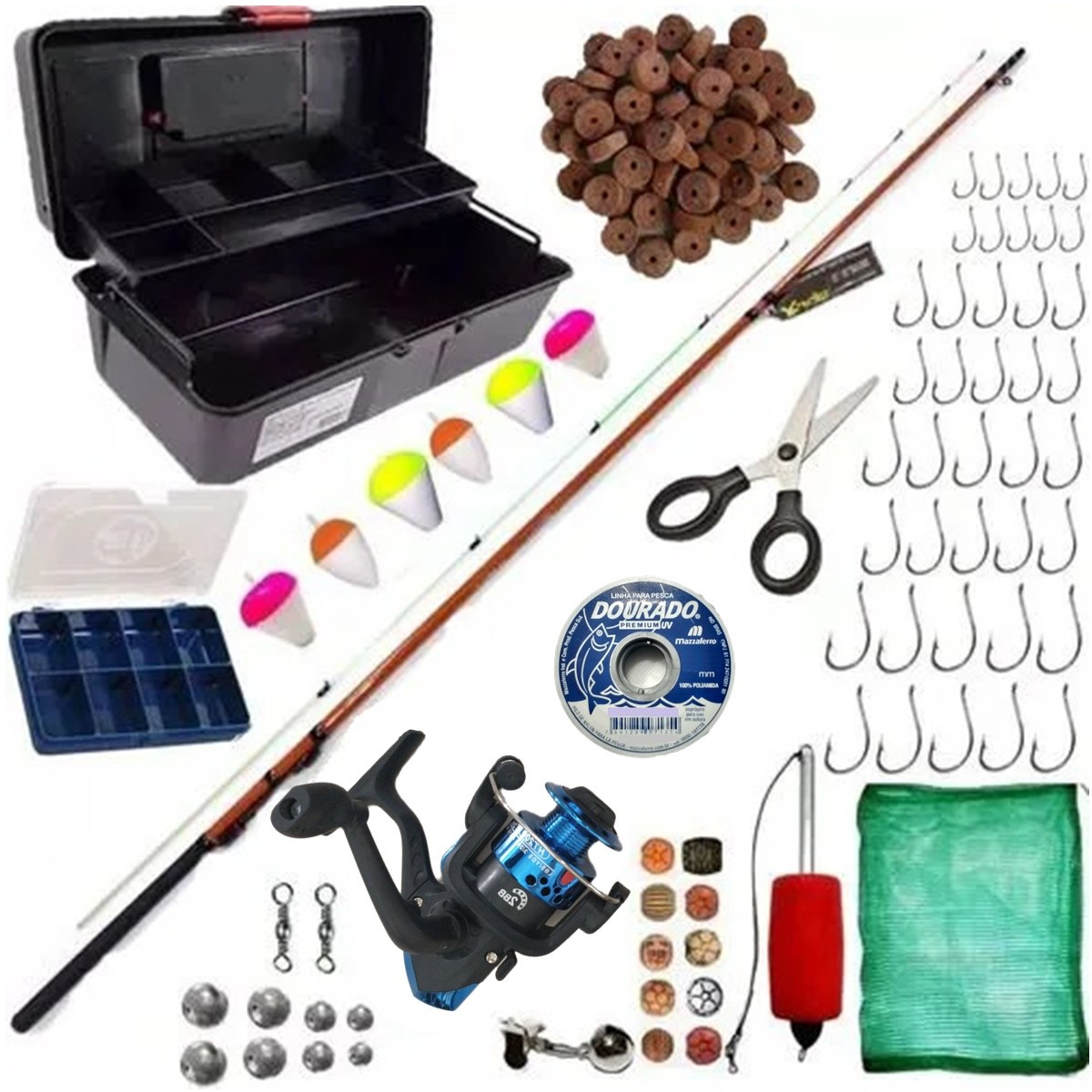 Material De Pesca Pescaria Completa Ultra Light Com 76 Itens