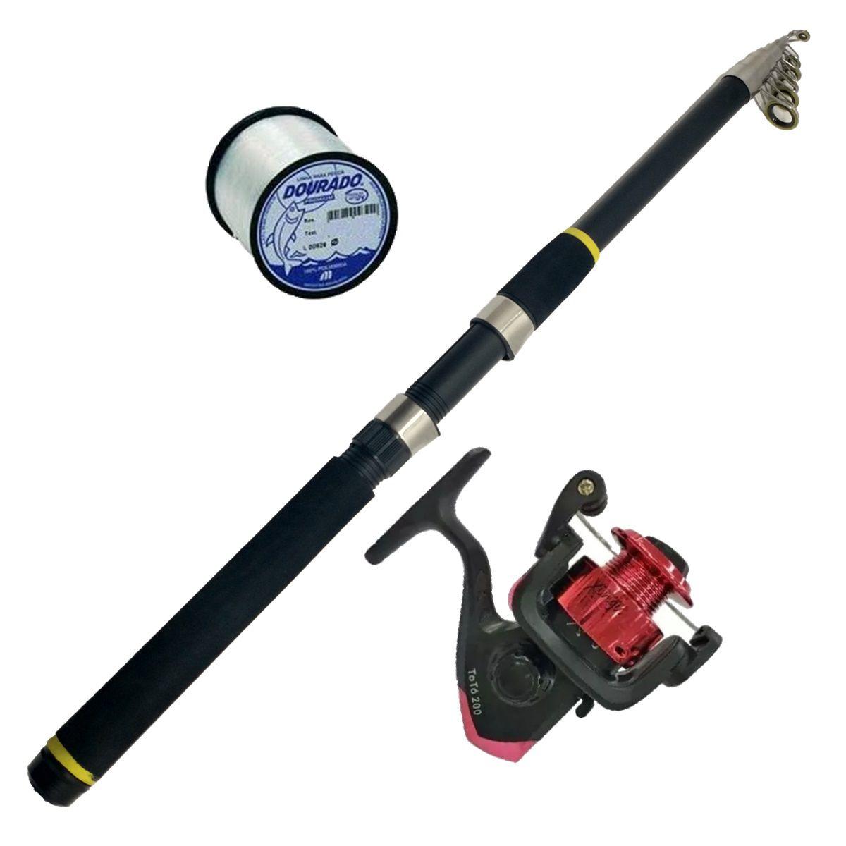 Material De Pesca Vara 3,00 Telescopica Molinete 100m Linha