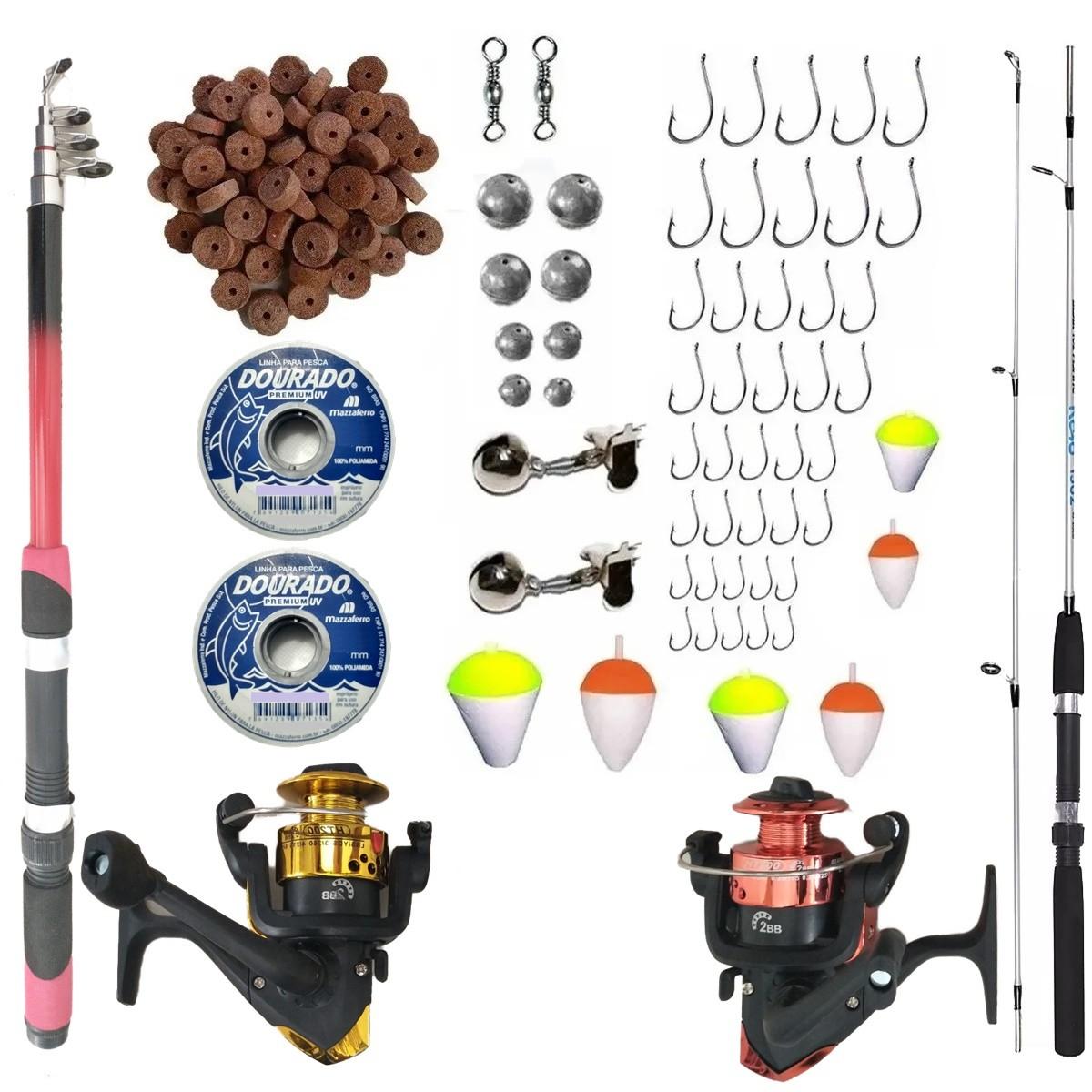 Produtos de Pesca Completo Suporta 2 Varas 2 Molinetes Com Itens