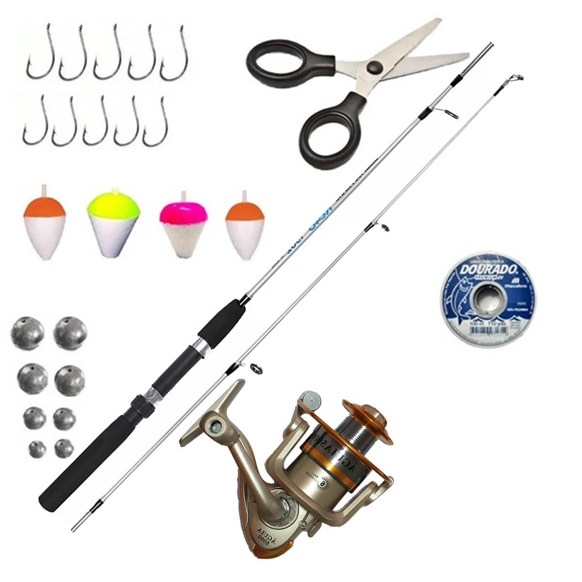 Vara De Pesca Com Molinete 3 Rolamentos Linha E Acessórios