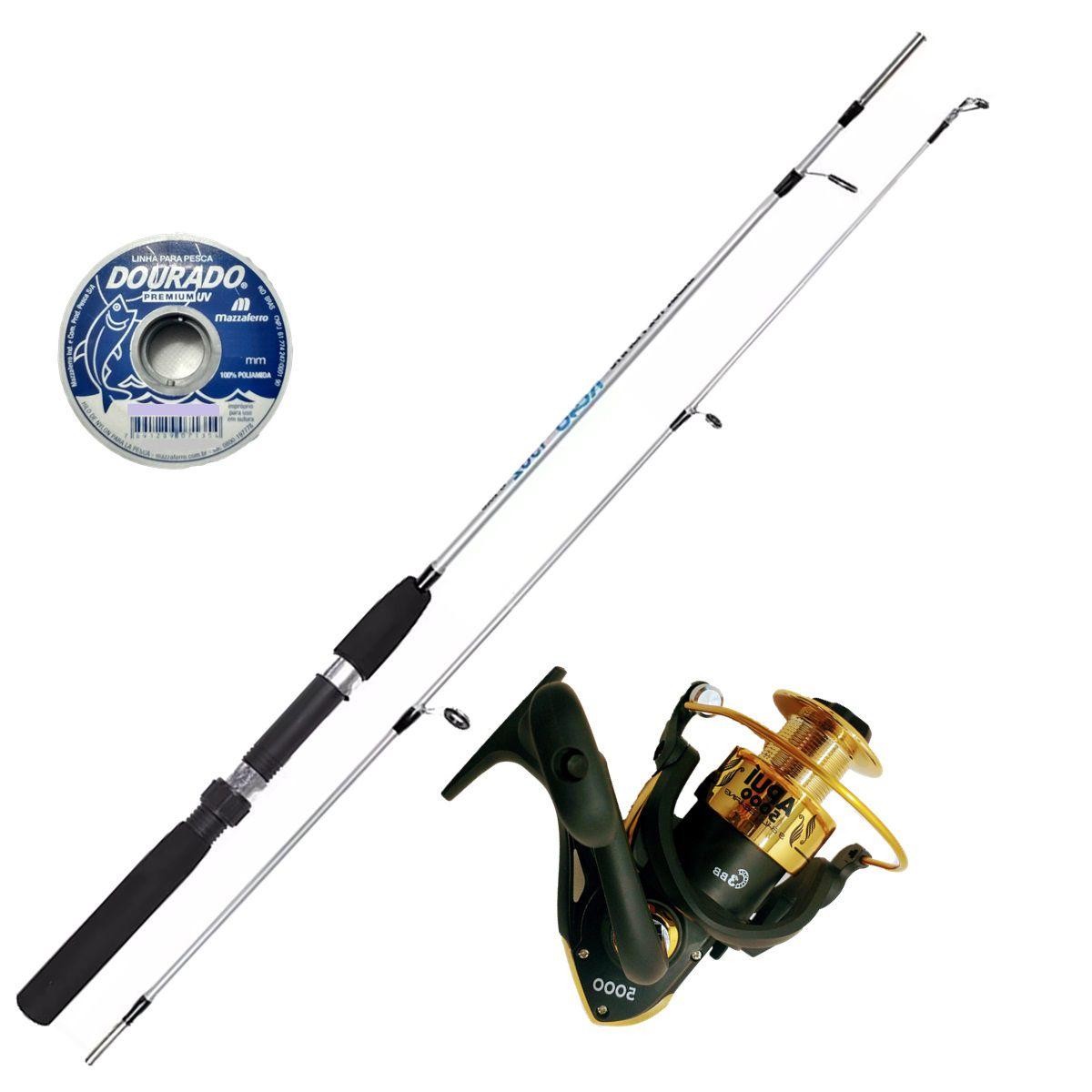 Vara De Pesca Completa 1,35 Molinete 3 Rolamentos Com Linha
