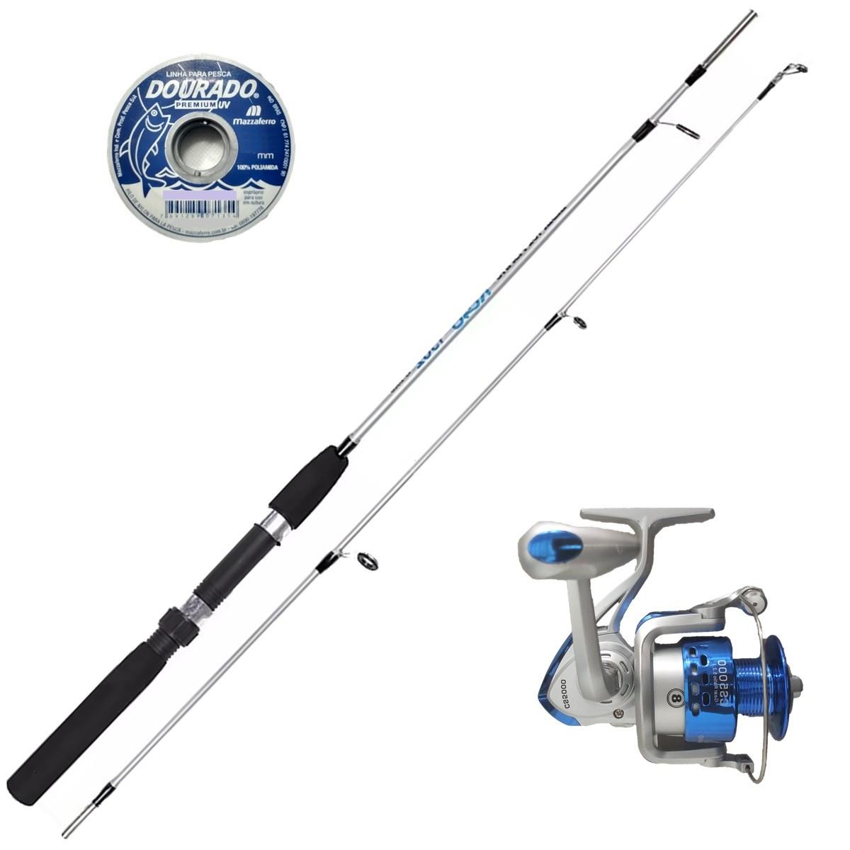 Vara De Pesca Completa 1,50 Molinete 8 Rolamentos Com Linha