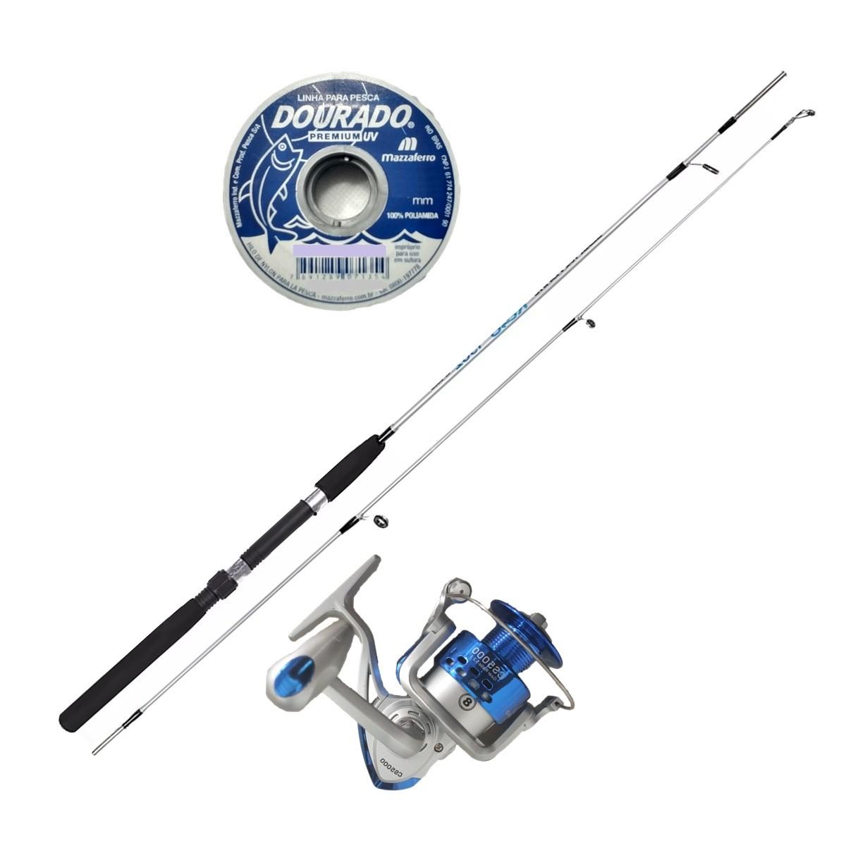 Vara De Pesca Completa 1,50m Molinete 3000 3 Rol 100m Linha